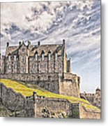 Edinburgh Castle Painting Metal Print
