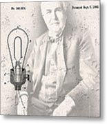 Edison And Electric Lamp Patent Metal Print