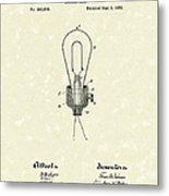 Edison Electric Lamp 1882 Patent Art Metal Print