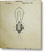 Edison Electric Lamp Patent 3 -  1882 Metal Print