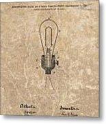 Edison Electric Lamp Patent Marble Metal Print