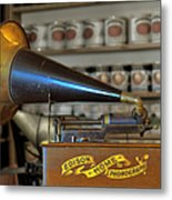 Edison Home Phonograph With Morning Glory Horn Metal Print by Christine Till