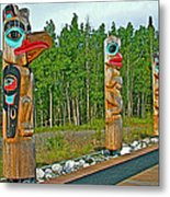 Edward Smarch Totem Poles At Teslin Tlingit Heritage Memorial Center In Teslin-yt Metal Print
