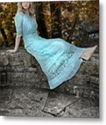 Edwardian Girl On A Stone Wall Metal Print