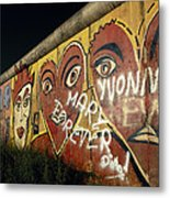 Berlin Wall Hearts Metal Print