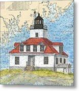 Egg Rock Lighthouse Me Nautical Chart Map Art Metal Print