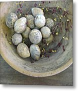 Eggs In A Wooden Bowl Metal Print