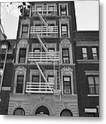 Egress Building In Black And White Metal Print