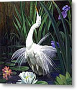Egret And The Butterfly Metal Print