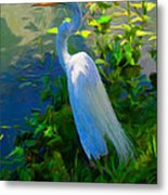 Egret In Blue Metal Print