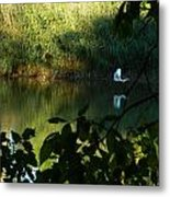 Egret Over The East River Metal Print