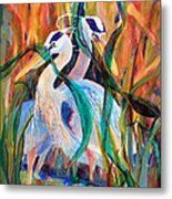 Egrets In Red 2            Metal Print