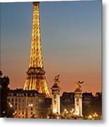 Eiffel At Twilight Metal Print