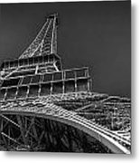Eiffel In Black And White Metal Print