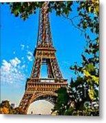 Eiffel In Green Metal Print