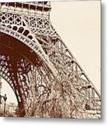 Eiffel In Sepia Metal Print