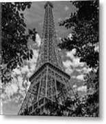 Eiffel Through Trees Bw Metal Print