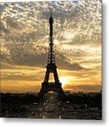 Eiffel Tower At Sunset Metal Print by Debra and Dave Vanderlaan