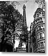 Eiffel Tower Black And White Metal Print