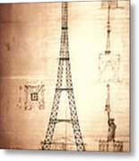 Eiffel Tower Design Metal Print