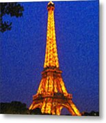 Eiffel Tower Illuminated Metal Print