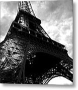 Eiffel Tower In Black And White. Ominous Sky Overhead Metal Print