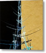 Eiffel Tower In Blue Abstract Metal Print