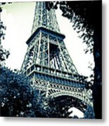 Eiffel Tower In Blue Metal Print