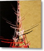 Eiffel Tower In Red On Gold  Abstract  Metal Print