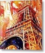 Eiffel Tower In Red Metal Print