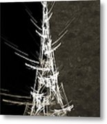Eiffel Tower In White Bw 2 Abstract Metal Print
