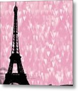 Eiffel Tower - Love In Paris Metal Print