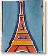 Eiffel Tower Orange Blue Metal Print