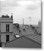 Eiffel Tower Over The Rooftops Metal Print