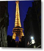 Eiffel Tower Paris France At Night Metal Print