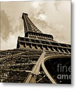 Eiffel Tower Paris France Black And White Metal Print