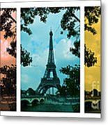 Eiffel Tower Paris France Trio Metal Print