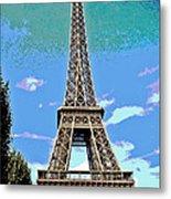 Eiffel Tower Posterized Metal Print