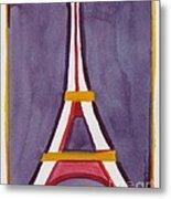 Eiffel Tower Purple Red Metal Print