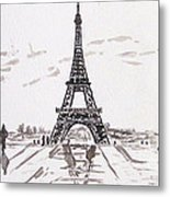 Eiffel Tower Rainy Day Metal Print by Kevin Croitz