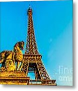 Eiffel Tower With Horse Metal Print