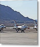 Eight F-16 Thunderbird Falcon's On Static Display Nellis Metal Print