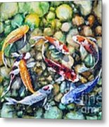 Eight Koi Fish Playing With Bubbles Metal Print