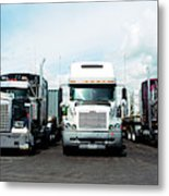 Eighteen Wheeler Vehicles On The Road Metal Print
