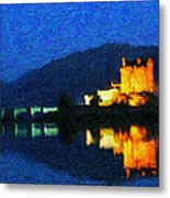 Eilean Donan At Night Metal Print