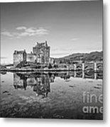 Eilean Donan Castle Black And White Metal Print