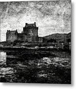 Eilean Donan Castle In Scotland Bw Metal Print