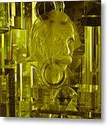 Einstein In Crystal - Yellow Metal Print