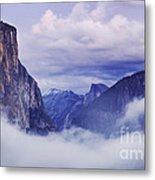 El Capitan Rises Above The Clouds Metal Print