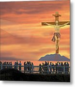El Faro Christ Sunset Photo Illustration Metal Print